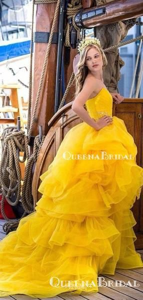 Sweetheart Ball Gown Charming Sleeveless Yellow Tulle Beaded Long Cheap Prom Dresses, QB0954 #tulleballgown