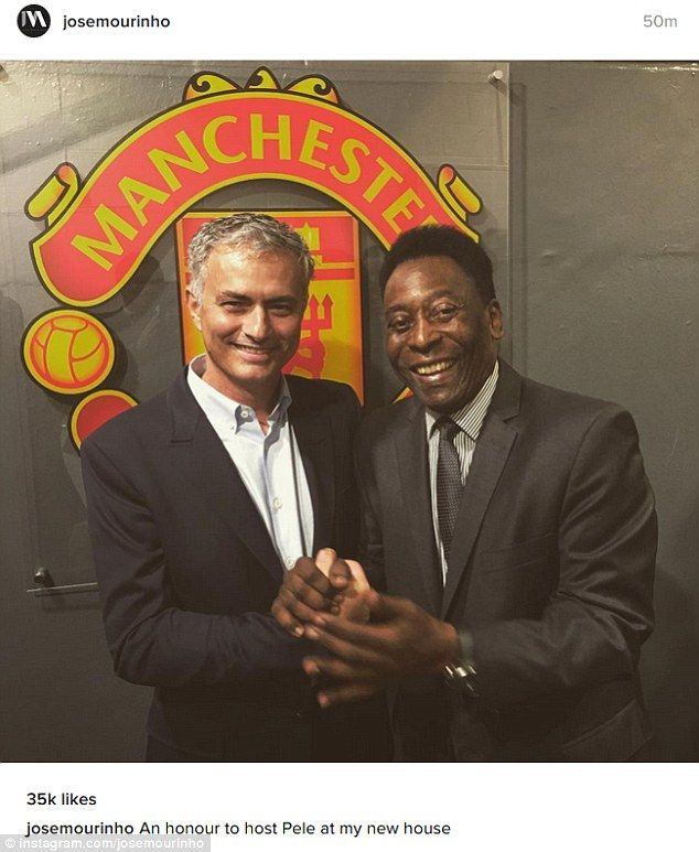 96103720172 Manchester United boss Jose Mourinho welcomes Brazil legend Pele to his   new house  at Old..