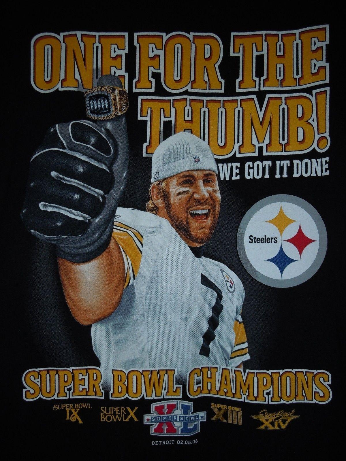 NFL Super Bowl Steelers 2006 Football T Shirt Size Lrg New