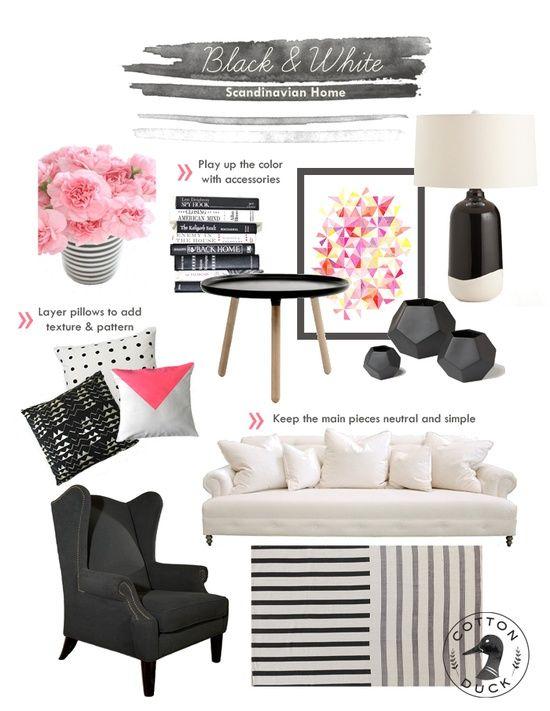 Best Black And White Scandinavian Living Room White Modern 400 x 300