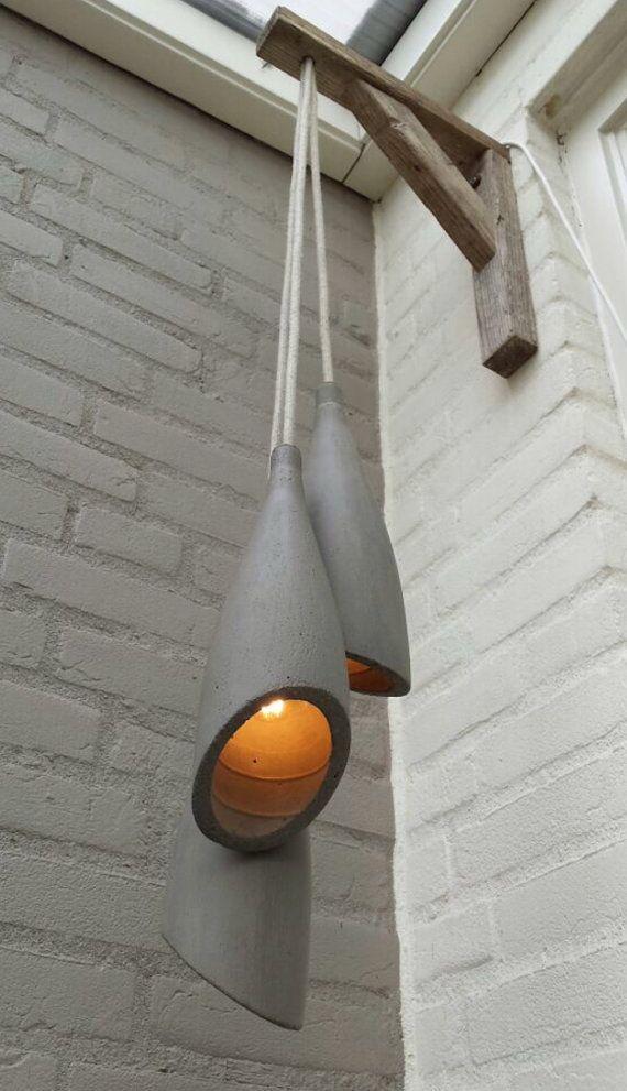 Konkrete Hangeleuchte Lampe Von Ccilehv Auf Etsy Concrete Pendant Lamp Bamboo Lamp Concrete Lamp