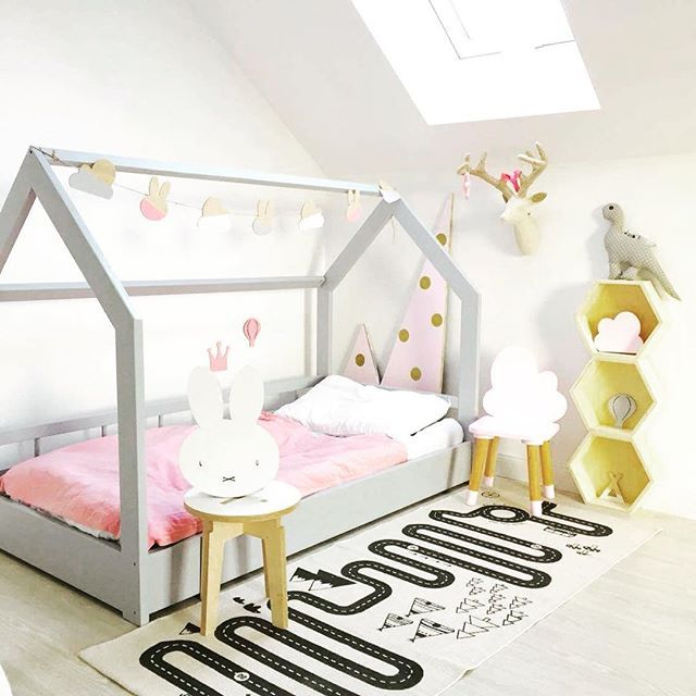 grey house bed scandinavian lozkodomek pokojdziecka oyoylivingdesign kinder kinderkamer. Black Bedroom Furniture Sets. Home Design Ideas
