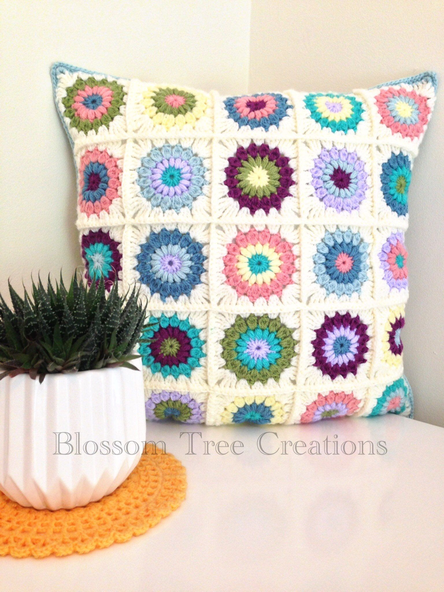 Made to order sunburst granny square crochet cushion cushions
