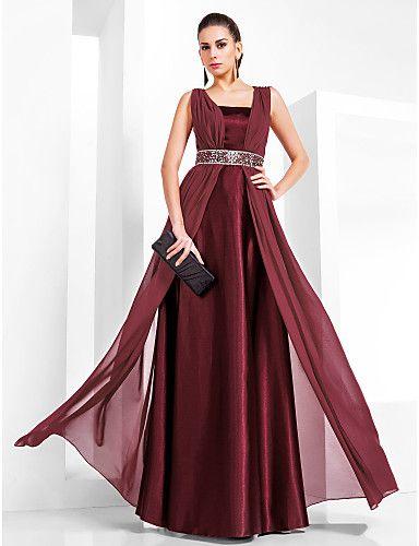 6d1bd4f810 Vestido de Noche de Gasa y Satén Hasta el Suelo con Corte Columna - USD    79.99
