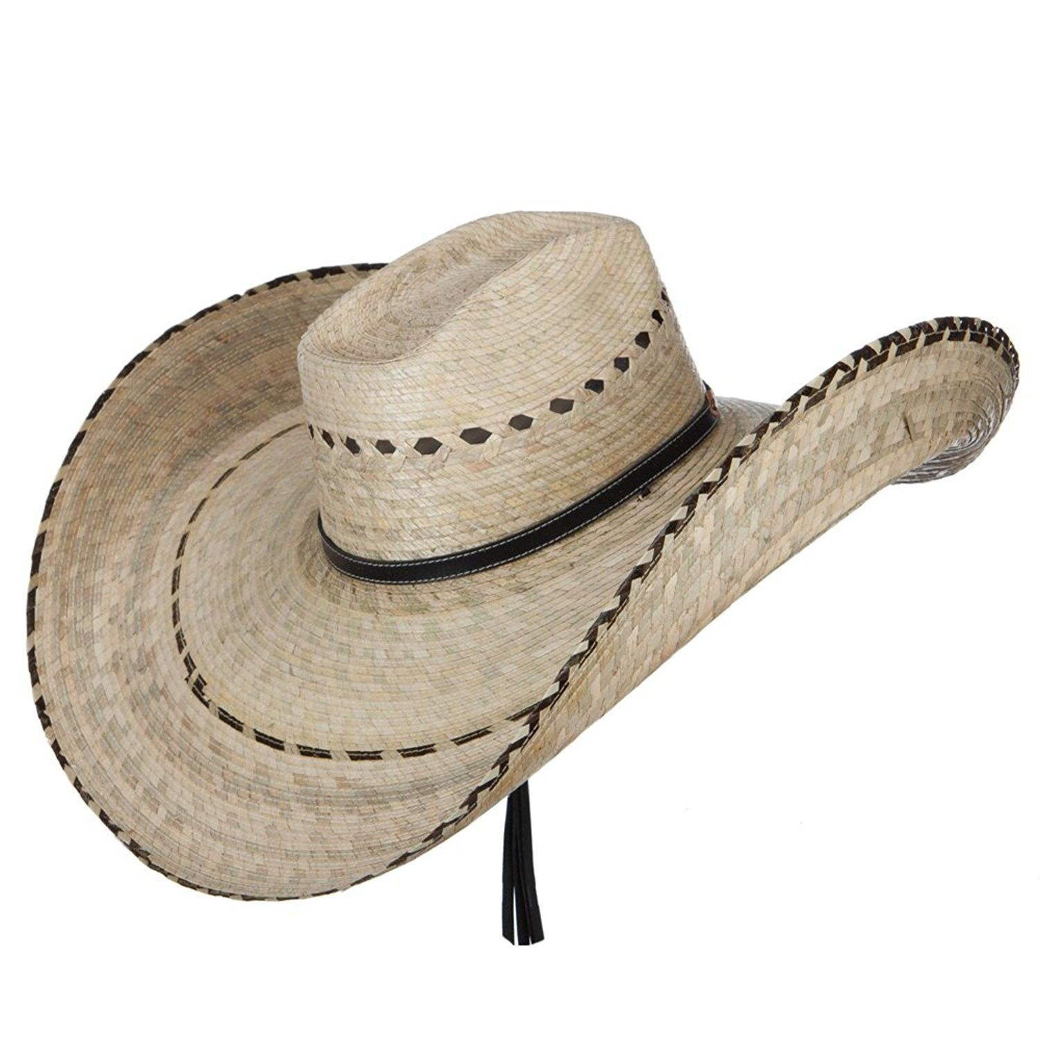 Mexican Style Wide Brim Straw Hat - Natural - CL12FV92YGJ  8aeed571308