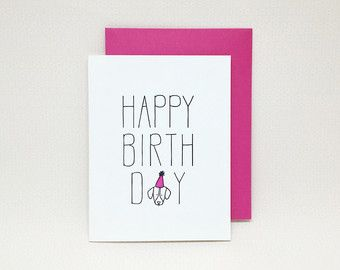 Happy Birthday Card Letterpress Dog Lover From