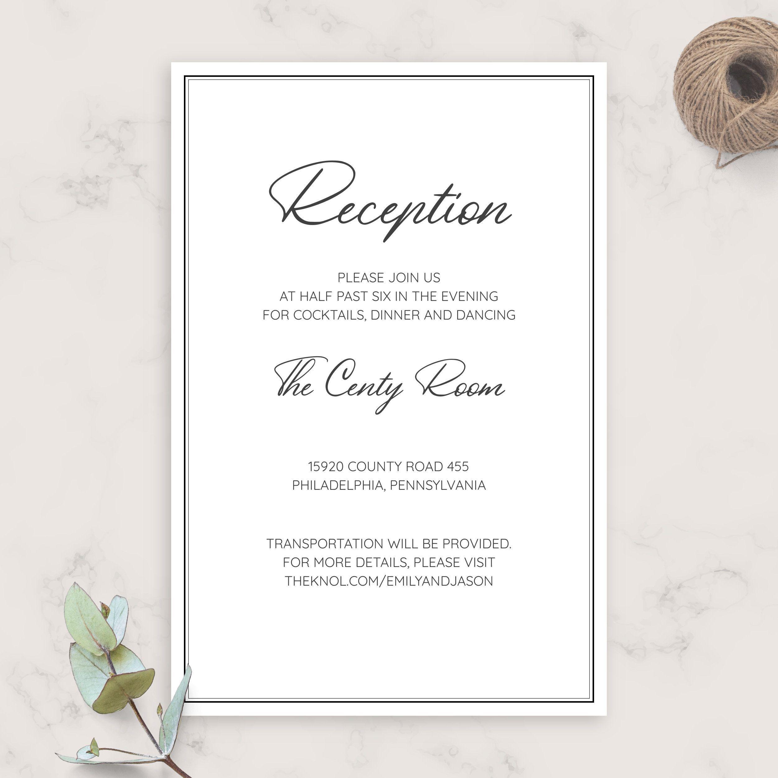 Simple Elegant Wedding Reception Card Diy Printable Wedding Etsy In 2020 Wedding Reception Cards Wedding Invitation Enclosure Cards Wedding Invitation Enclosures