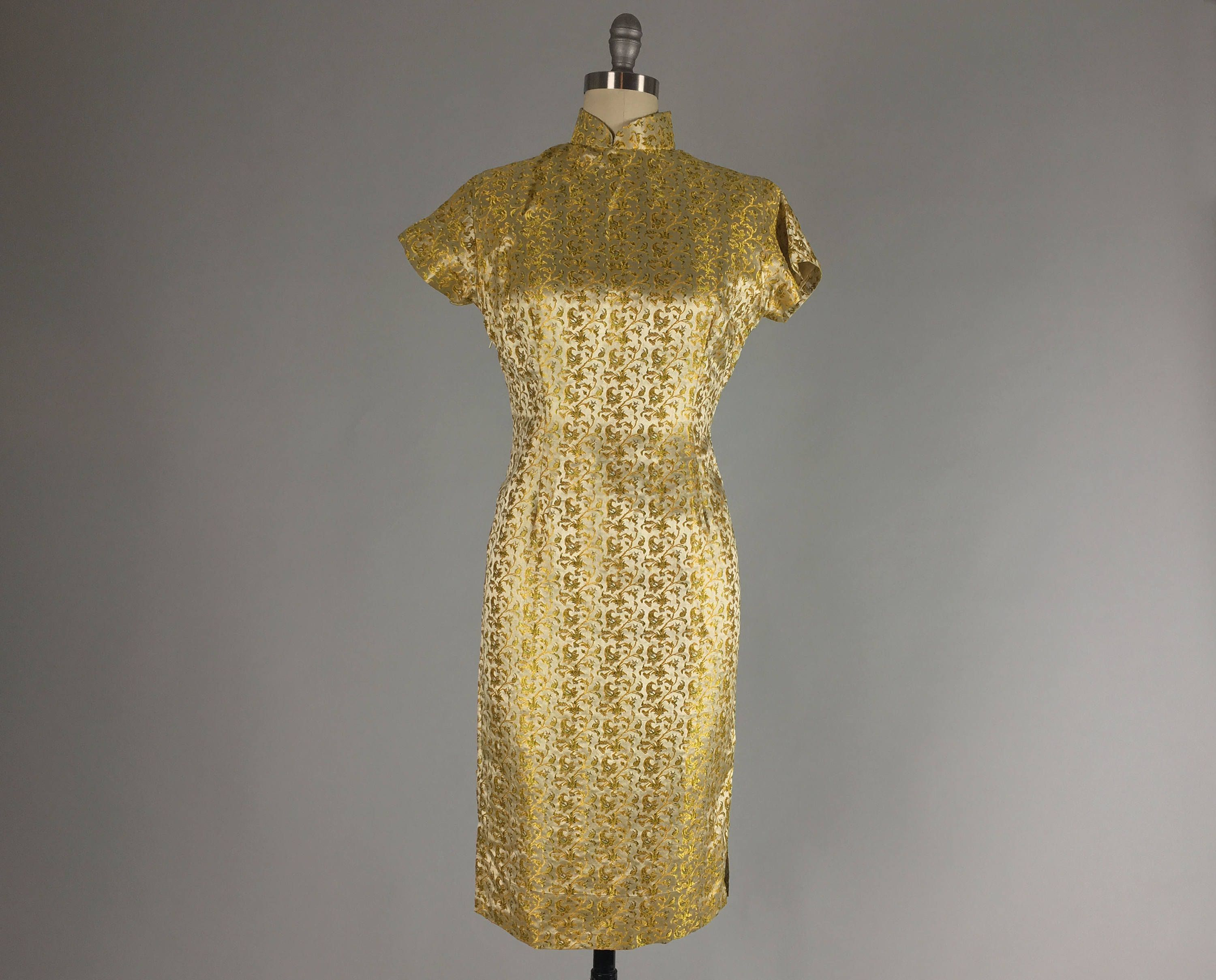 Vintage 1950s Dress | 50s Bright Gold and Olive Green Satin Brocade ...