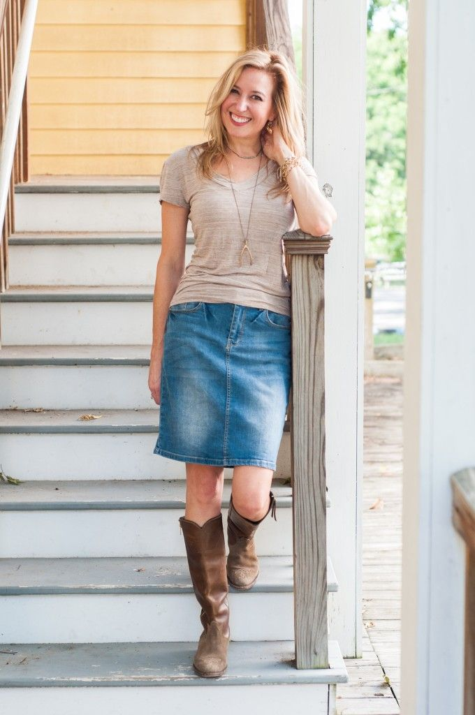 Jean Skirt With Boots 34