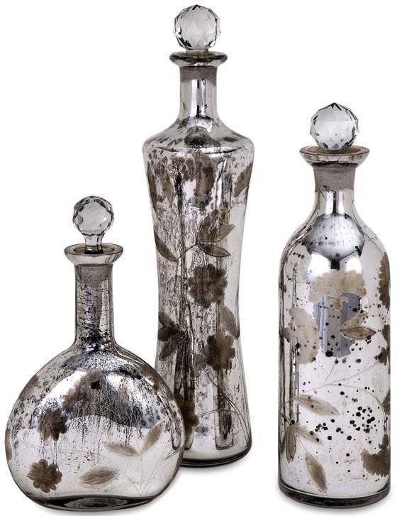 Small Decorative Bottles Wholesale Madison Etched Mercury Glasslidded Bottles  Set Of 3  Table