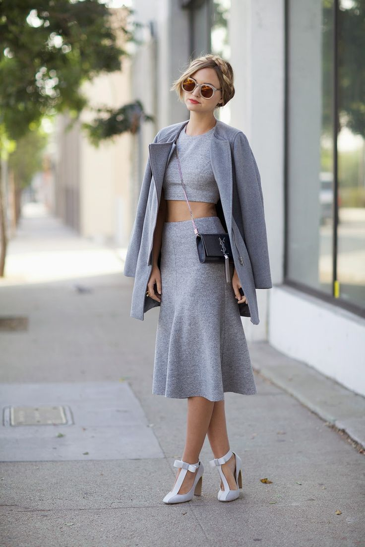 bow shoes with gray outfit