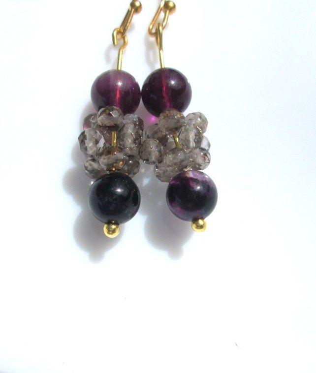 Purple flourite and smokey quartz beady bead earrings £4.50
