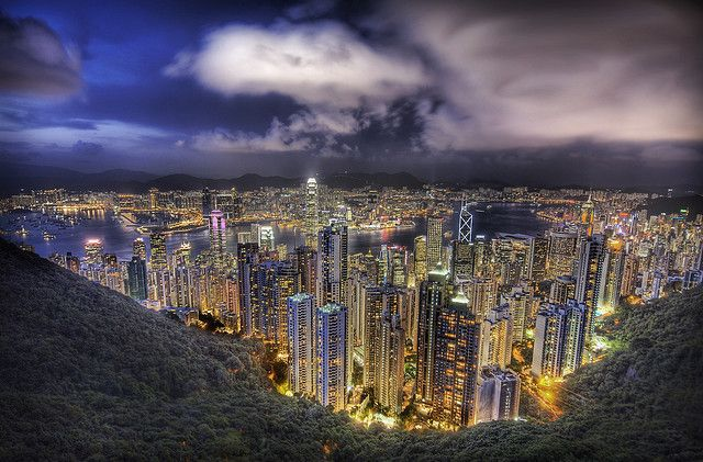 Hong Kong from the peak on a summer's nightBy Stuck in Customs