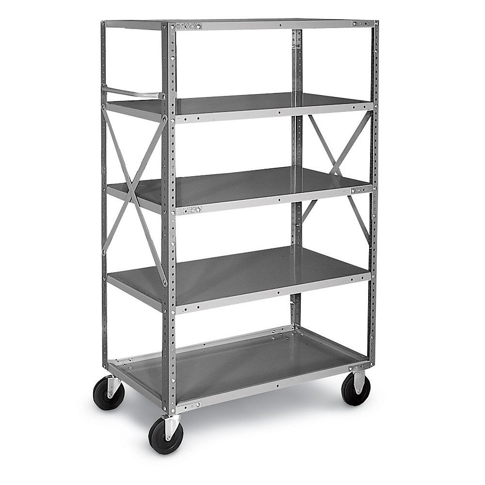 Chic Gray Edsal Shelving In Five Tier Design With Wheels Made Of ...
