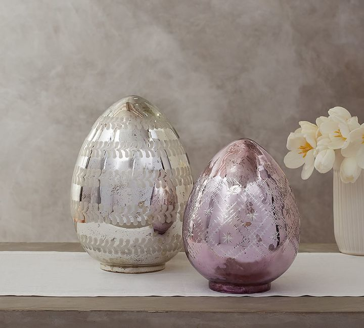 Lit Etched Mercury Eggs Pottery Barn Lighting Decor