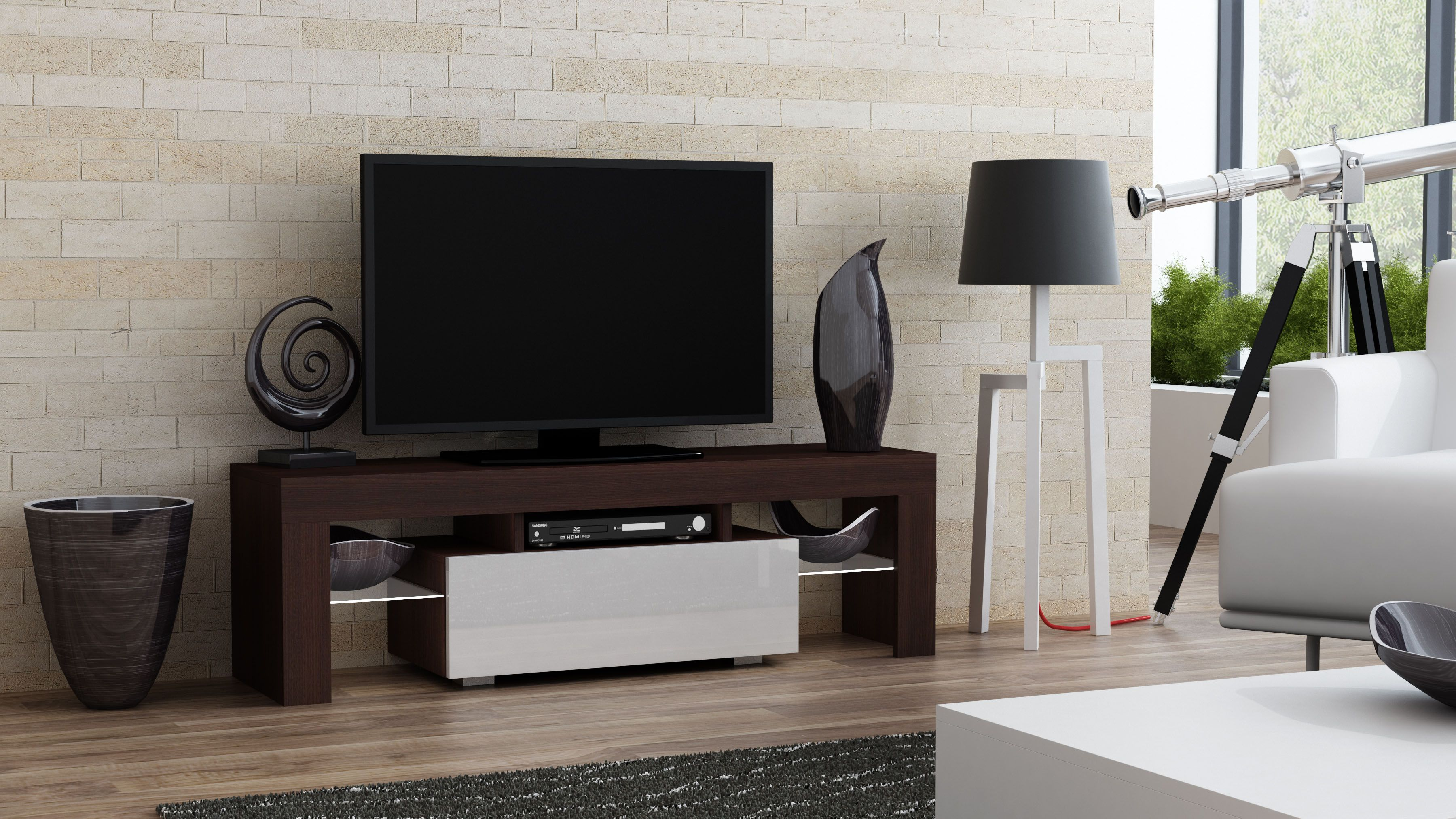 Milano 130 - wenge tv stand with shelves | Meuble tv led, Meuble de télévision, Meuble tv home cinema
