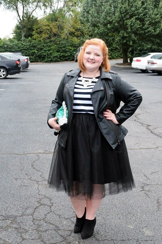 liz from withwonderand whimsy models a black tulle skirt from the