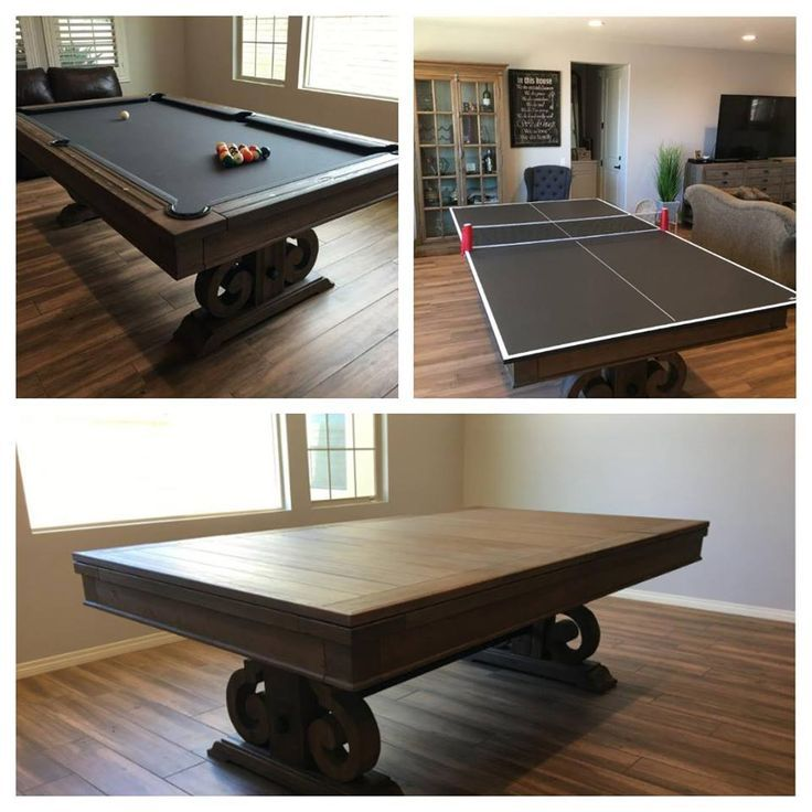 """#pool table #dinner#night#flash#table#dining#check#selection#tables#online#store#follow#extra From dinner to game night in a flash! Not only a pool table, but a dining and ping pong table as well! Check out our wide selection of tables online or in store. Follow us for an extra 5% off on in store purchases! SOLID WOOD LEGS, RAILS & BODY DOUBLE CROSS BEAM CONSTRUCTION 1"""" BACKED K PATTERN SLATE K66 CUSHION RUBBER LEATHER POCKETS METAL COIN RAILS SITES AVAILABLE IN 7FT and 8FT Dining Top Available"""