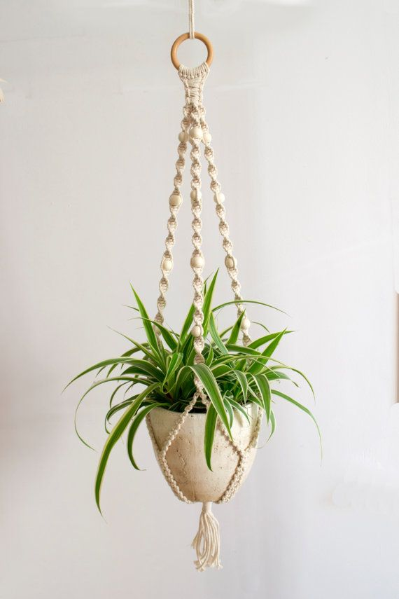 macrame plant hanger plant holder hanging planter home decor macrame plant holder pot. Black Bedroom Furniture Sets. Home Design Ideas