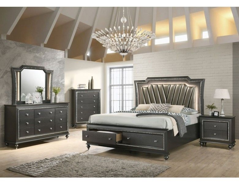 Caprice Storage Bed With Led Lights Furniture Upholstered Storage Bedroom Set Bedroom set led lights