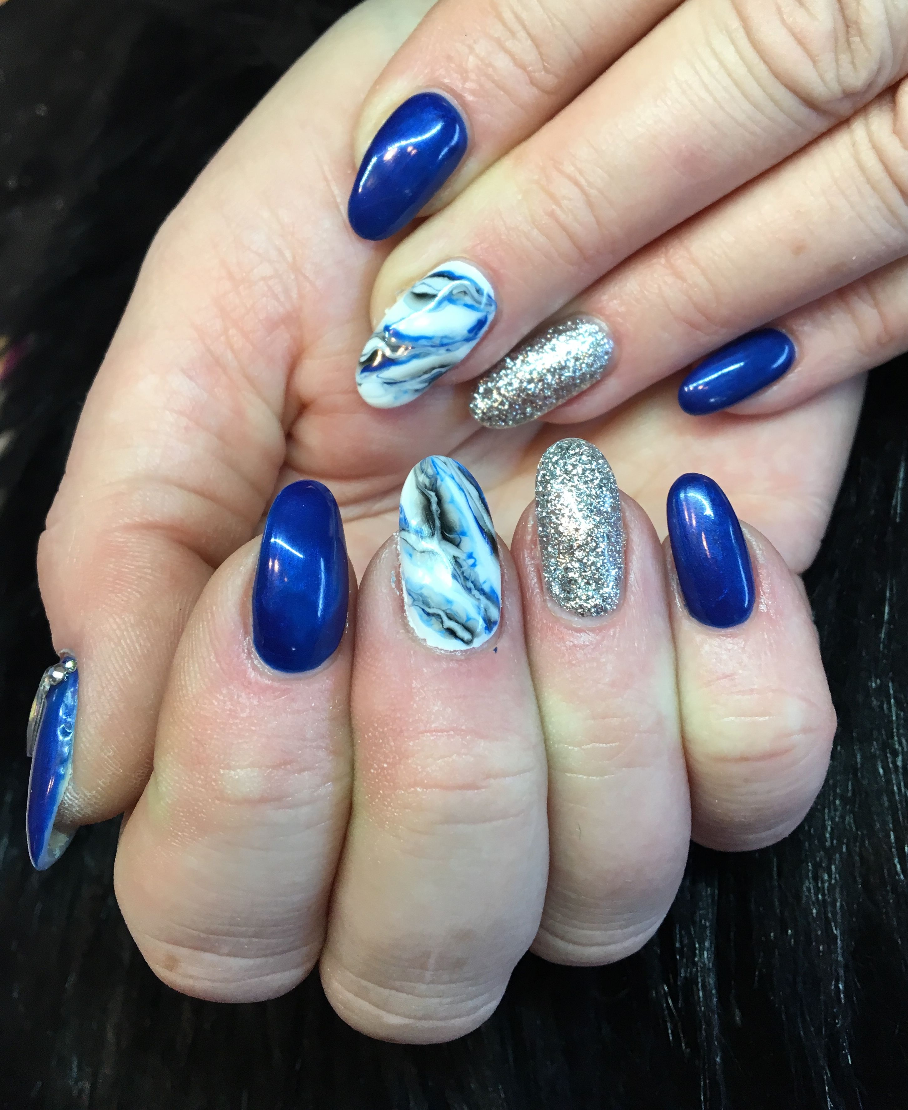 Blue And Silver Nails With Blue Marble Gel Nail Design Blue Nail Designs Blue And Silver Nails Nail Designs