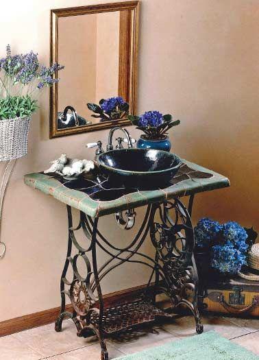 Ideas de dise o ba o azulejos maquinas de coser for Diseno de muebles de maquinas de coser