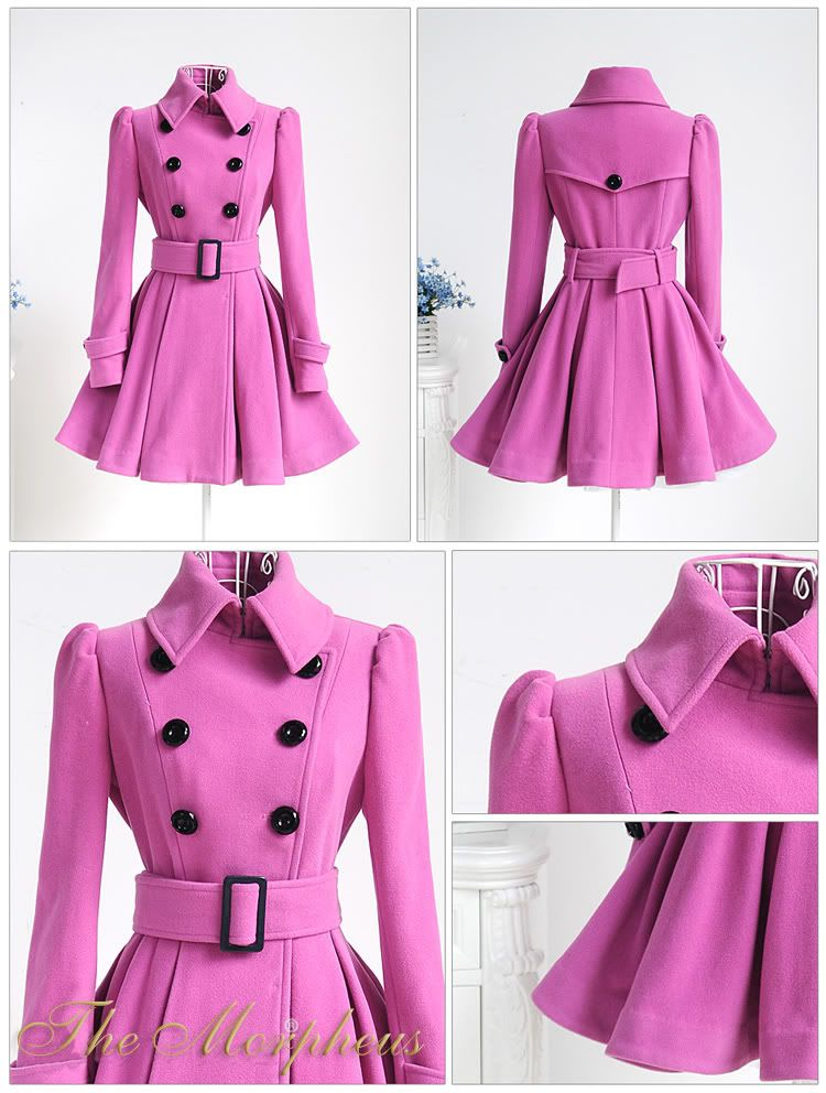 Pink Trendy Double Brested Belted Pleated Woollen Coat