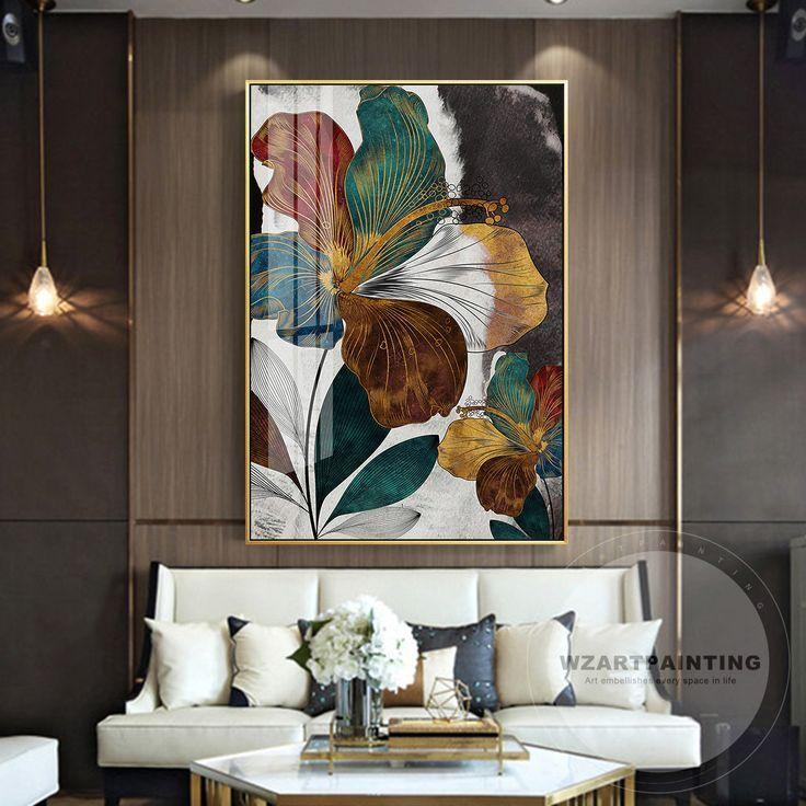 moderne abstrakte blumen goldgrun blatt druck malerei cuadros drucken luxus gross auf segeltuc wandkunst wohnzimmer kunst furs bilder leinwand modern die pinakothek der