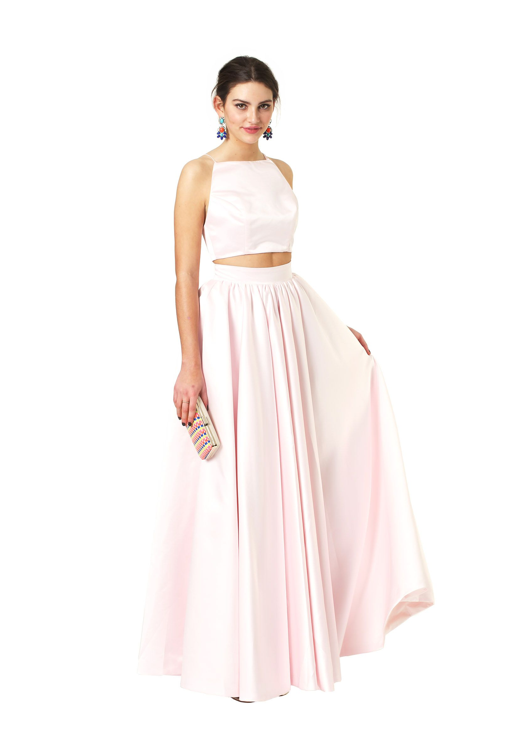 Two piece, full skirt and crop top set Pale Pink Kat - Fame ...