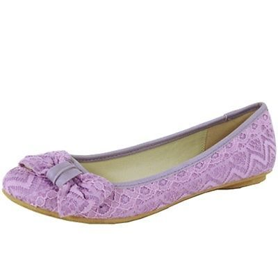 c9b3b12be36b Lace Bow Tie Ballerinas Lacey Flats Lavender Light Purple Fabric Women s  Shoes
