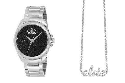 Coffret montre à quartz en acier et collier - Argenté et noir