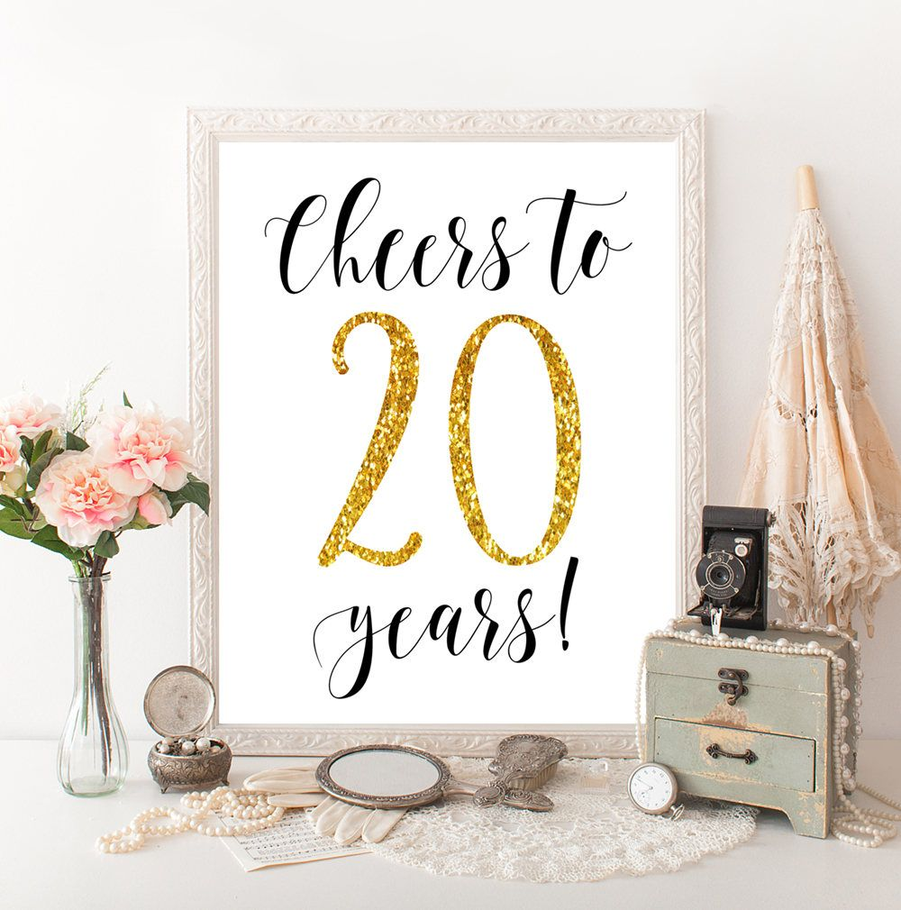 Cheers To 20 Years 20th Birthday 20th Anniversary 20th Wedding Anniversary 20 Birthday Party Deco 20th Birthday Party 20th Birthday Gift 20th Anniversary Ideas
