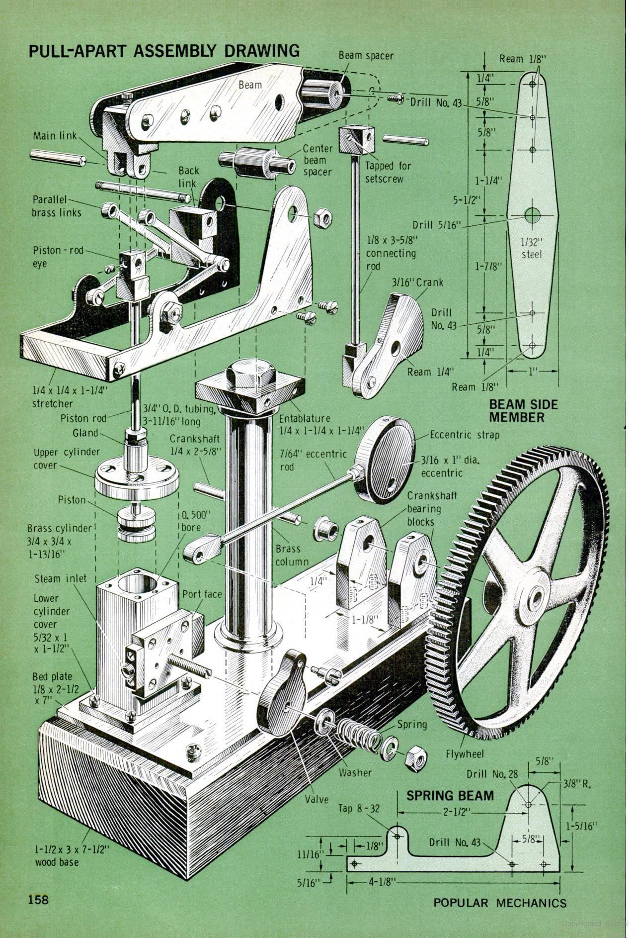 Popular Mechanics August 1969 - Walking Beam Engine | Steam Power