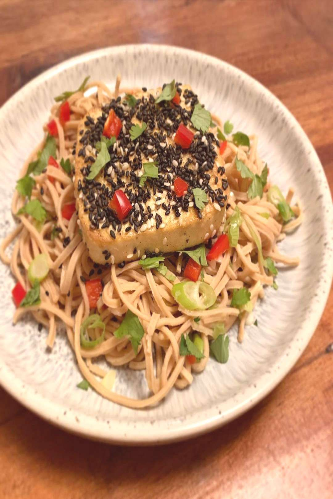 #sesamecrusted #soybean #noodle #spicy #salad #simpl #tofu #with #nice #food #a  Sesame-crusted tofu with spicy soybean noodle salad A nice simplYou can find Healthy vegan and more on our website. Sesame-crusted tofu with spicy soyb...