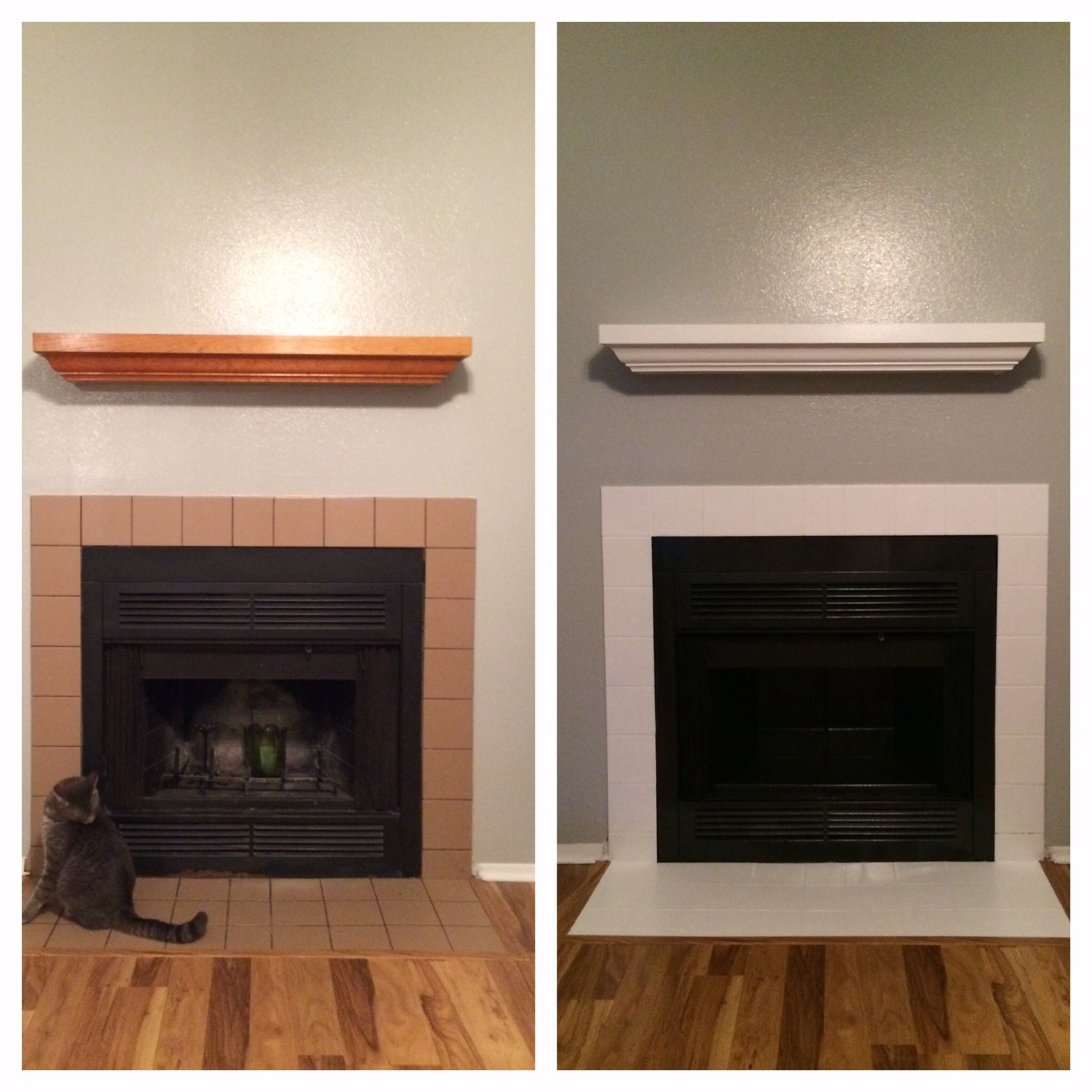 DIY tile fireplace update. Spray painted the fireplace black using rustoleum black spray paint and primer. Then I Painted the tile around the fireplace using an oil based primer