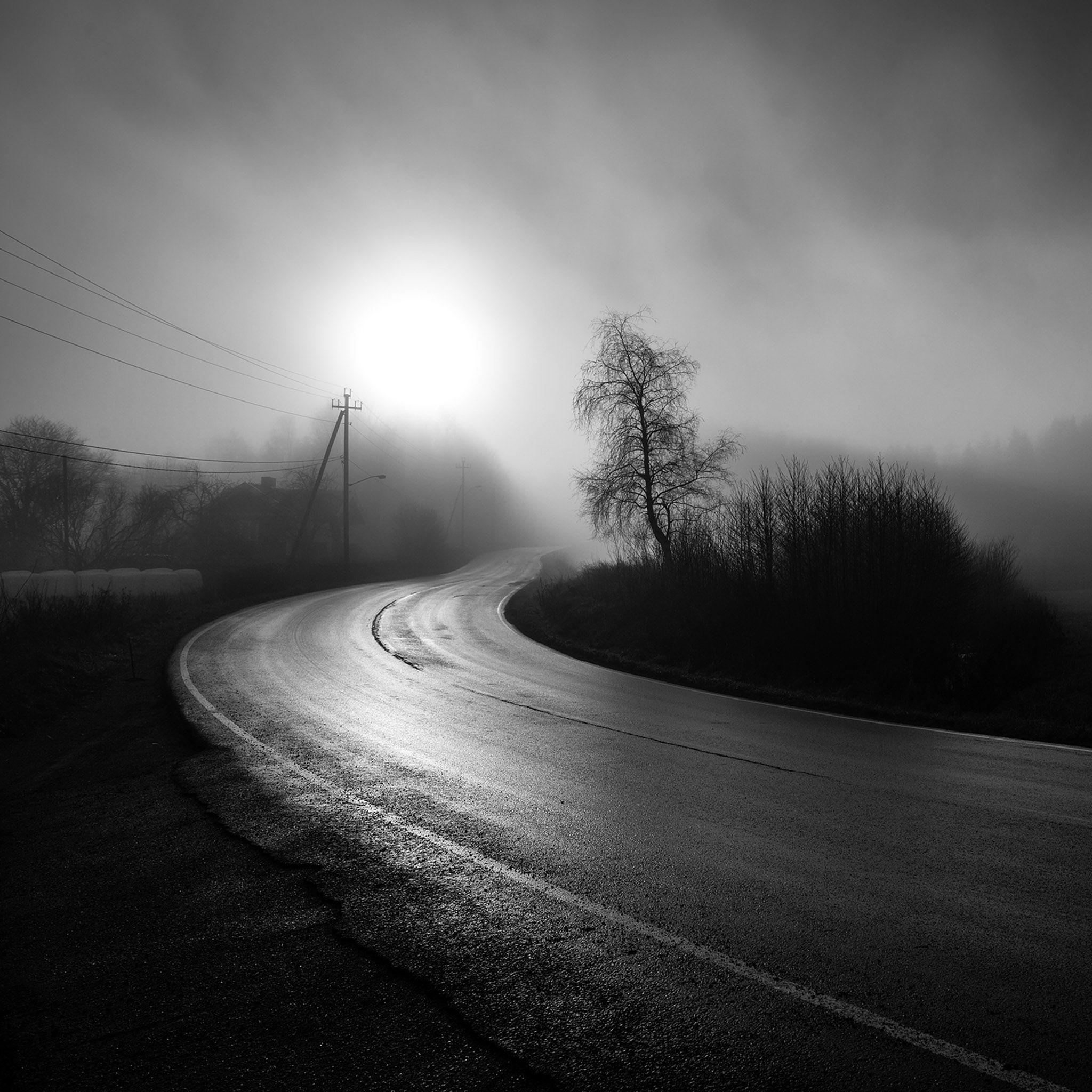 Download Dark Foggy Country Road IPad Wallpaper HD