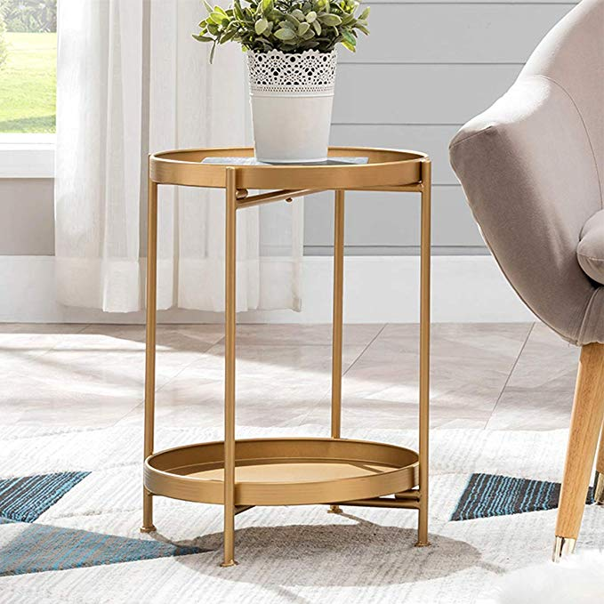 Amazon Com Small Round Table Metal Tray Side Table With Storage Gold Modern Nightstand In 2020 Living Room Side Table Side Table With Storage Round Living Room Table #small #round #table #for #living #room