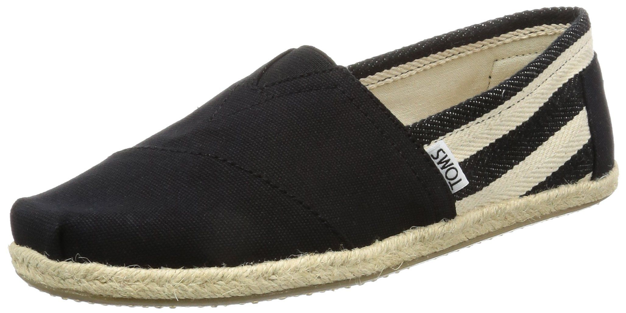 the latest 0bf70 f90dd TOMS Women s 10005415 University Alpargata Flat, Black Stripe, 8.5 M US