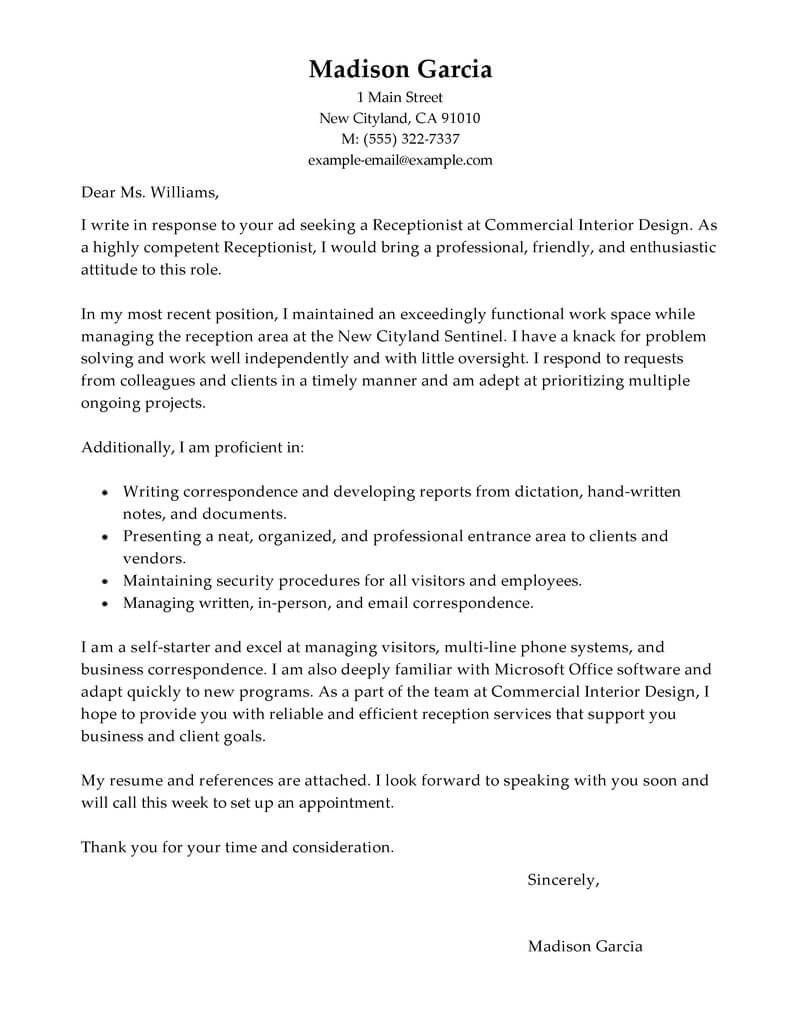 cover letter template receptionist cover coverlettertemplate