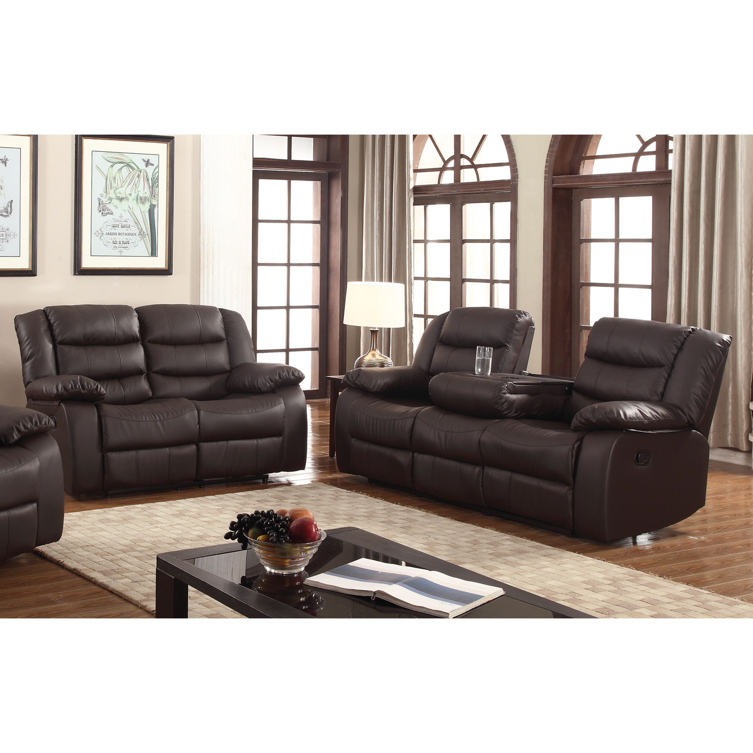 Gloria faux leather 2 piece reclining living room set dark brown