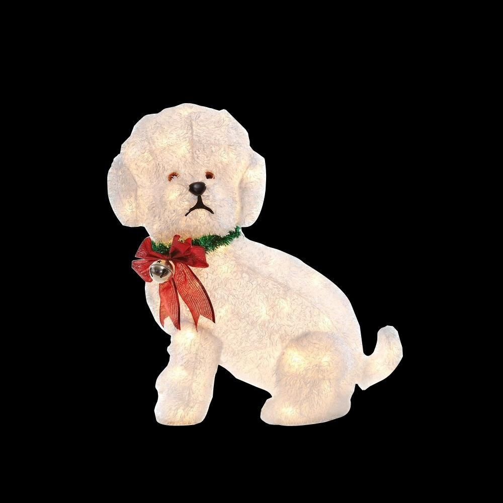 its hard to beat a white fluffy dog when it comes to outdoor christmas decorations the dog comes pre lit with 100 clear led lights and features a festive