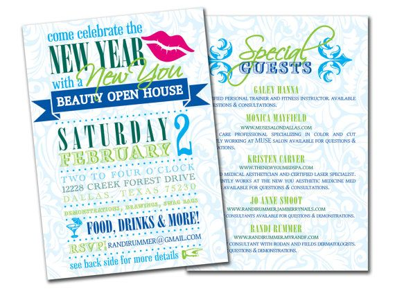 New Year New You Beauty Event Invitation rodan by lauraleidesign - Business Event Invitation