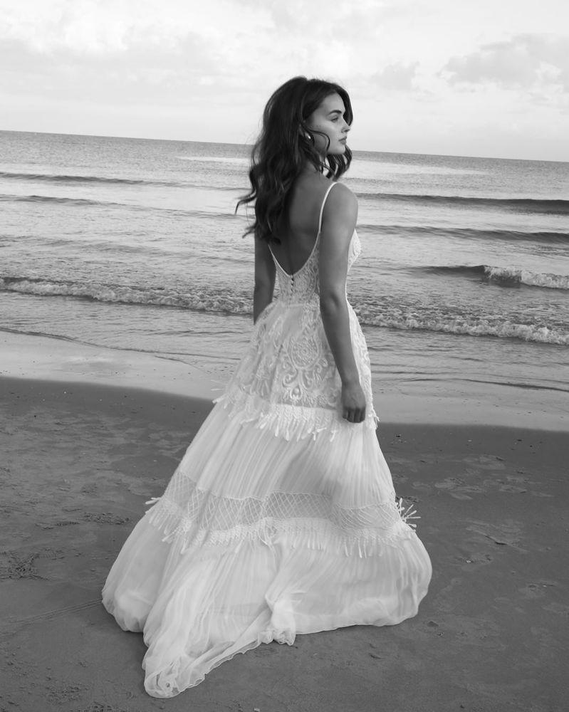 Summer beach bohemian hippie bridal wedding dress custom size
