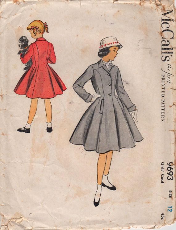 f531e33754 McCalls 9693 1950s Girls Coat Pattern Princess Seam Flared Coat Childs  Vintage Sewing Pattern Size 12 Breast 30