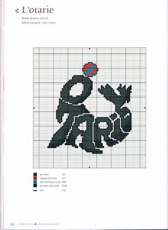Galleryru / Фото #32 - Broderie à lire - Ka Cross stitch animal - couleur des fils electrique