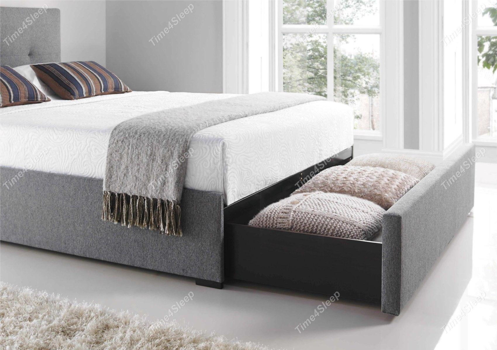 Best Kaydian Hexham Upholstered Storage Drawer Bed Smoke 640 x 480