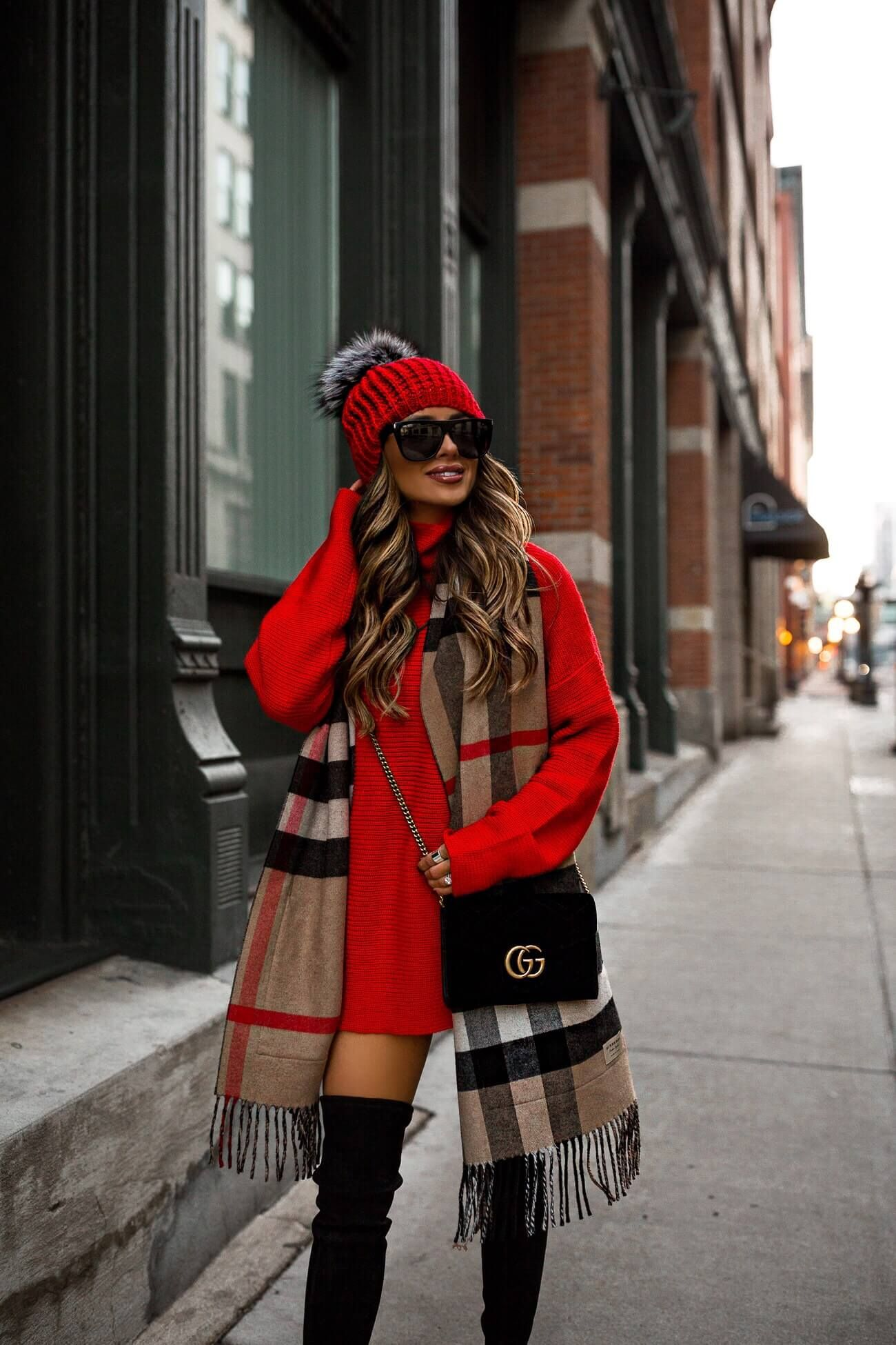 fashion blogger mia mia mine wearing a red sweater dress from revolve and a burberry scarf with a gucci velvet bag for winter 2018 #winterfashion