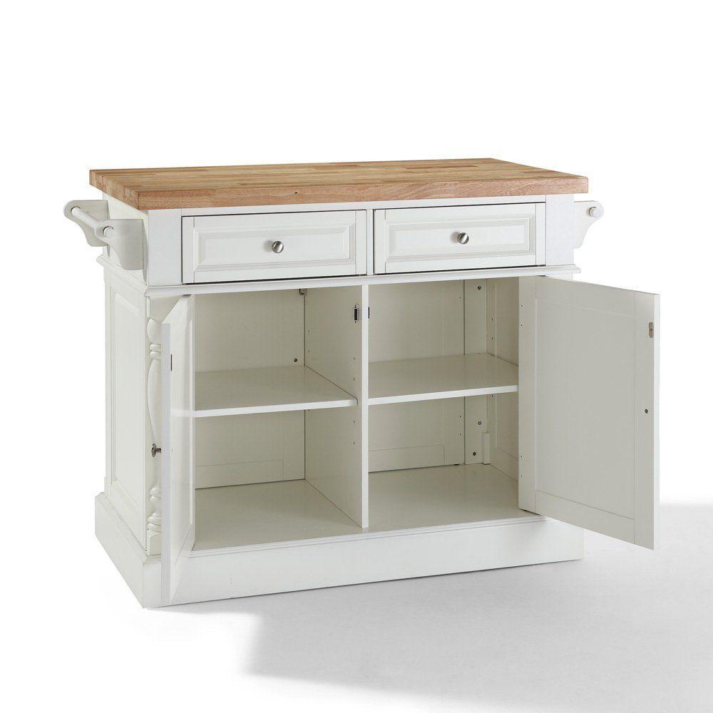 crosley furniture butcher block top kitchen island white crosley ...