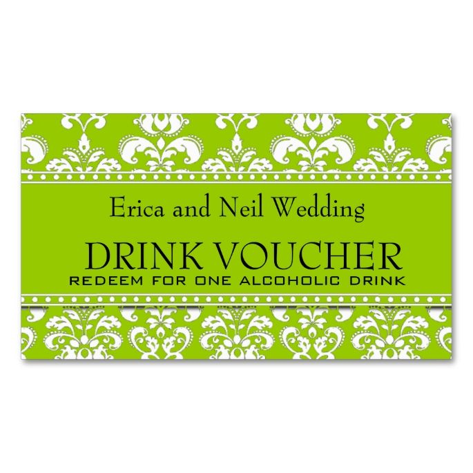 Green Damask Wedding Drink Voucher for Reception Double-Sided - make voucher