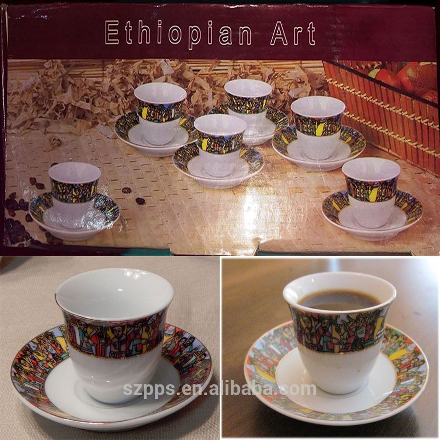 Ethiopian Coffee Set with cup&saucer 12pcs saba coffee set | alibaba